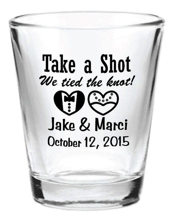 72 Personalized Wedding Favors 1 75oz Glass Shot Glasses