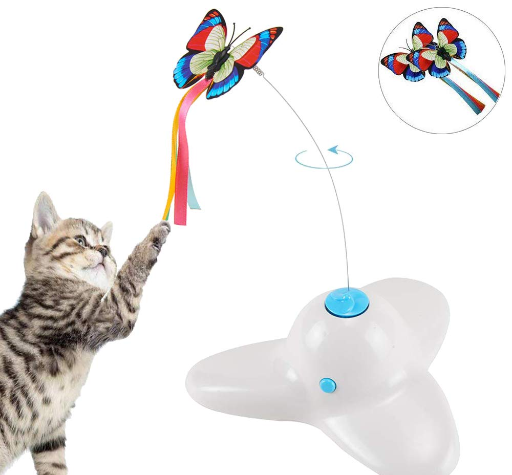 Pet Interactive Electric 360 Rotate Training Cat Toy Rotating Butterfly Cat Toys Indoor Play Toy White Amazon Co Uk Pet Supplies Cat Toys Cat Training Pets