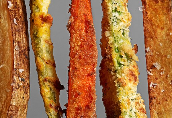 5 Different Fried Veggie Recipes.    From left to right: Spiced Sweet Potato Fries,   Chipotle Cornmeal Green Bean Fries,   Carrot Fries, Parmesan Zucchini Fries,   Oven-Baked Steak Fries #fries