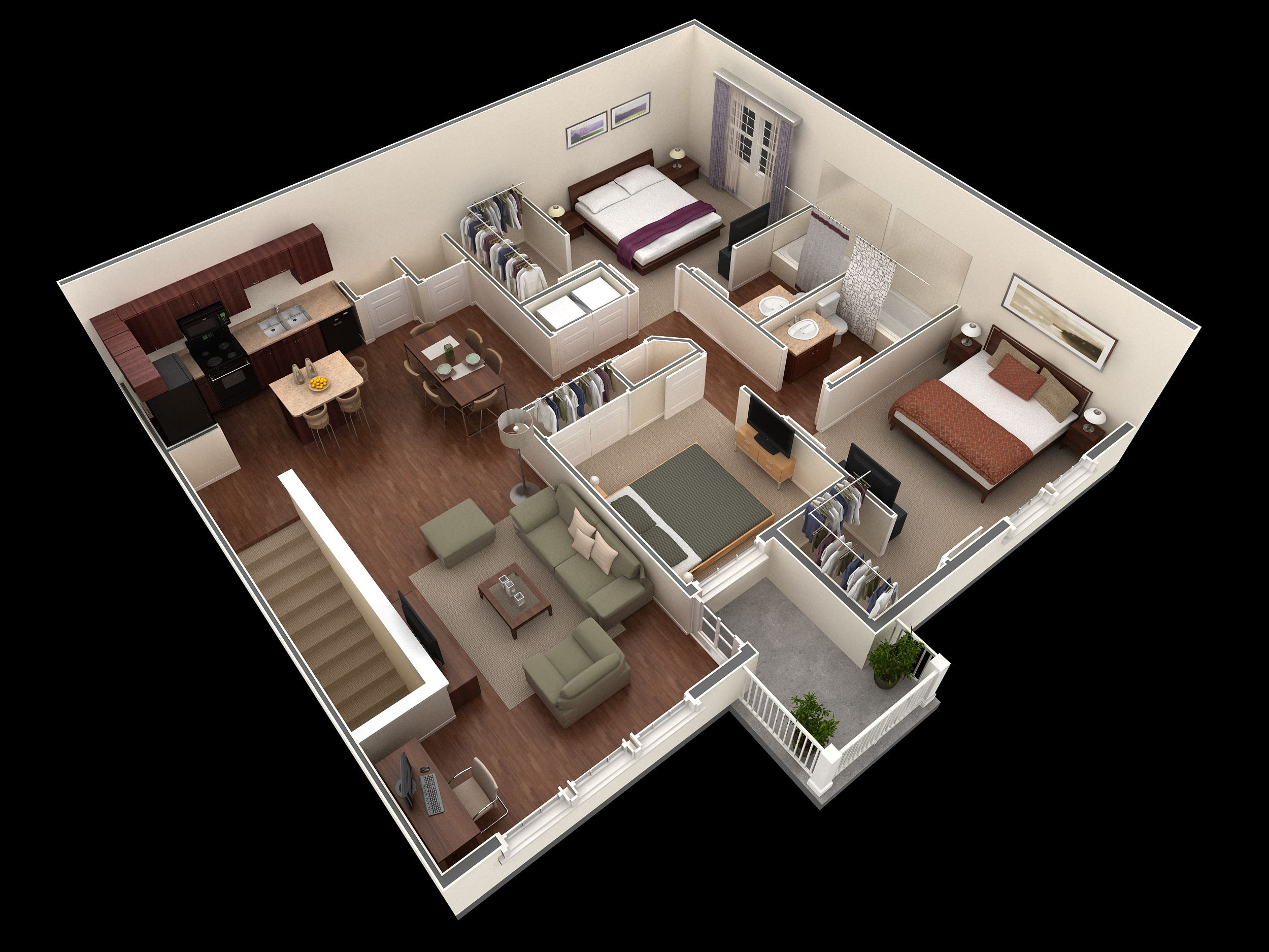 3 Bedroom 2 Bath 1378 Sf Apartment At Springs At Legacy Commons Apartments In Omaha Ne The Apartment Comes With 3 L House Plans 3d House Plans House Layouts