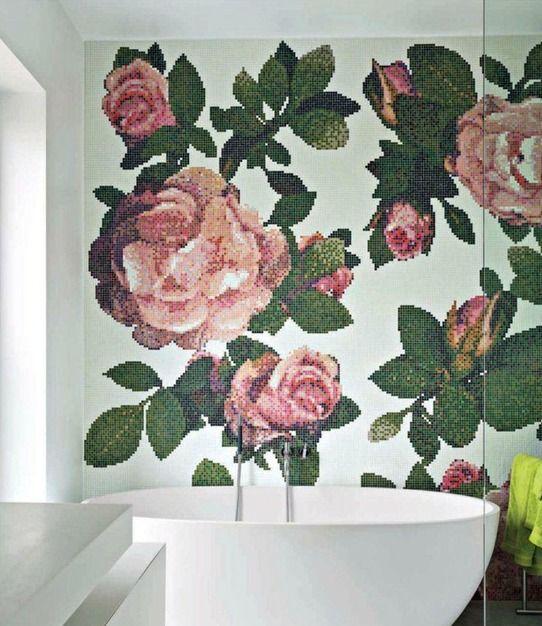 Mosaïque fleurs salle de bain Inspiration intérieur Pinterest - mosaique rose salle de bain