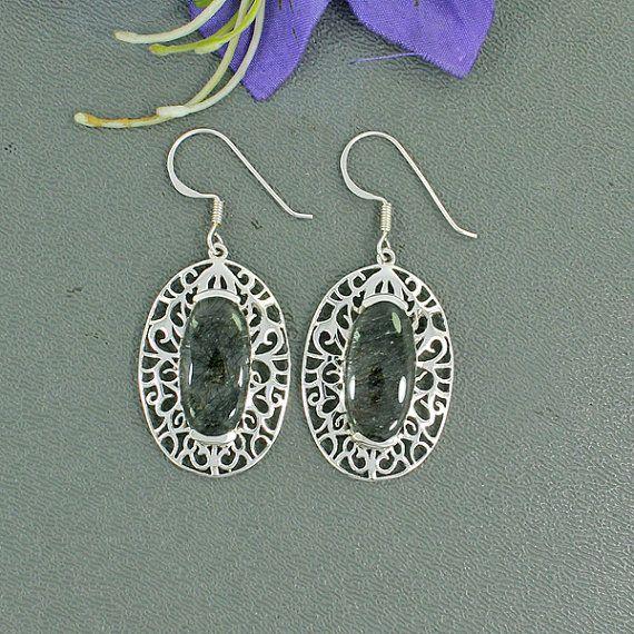 Tourmalated Quartz Dangle Earrings, Designer Earrings,Wedding,Bride,Set in 925 Sterling Silver,Wedding Gift,Bridesmaid Jewelry,…