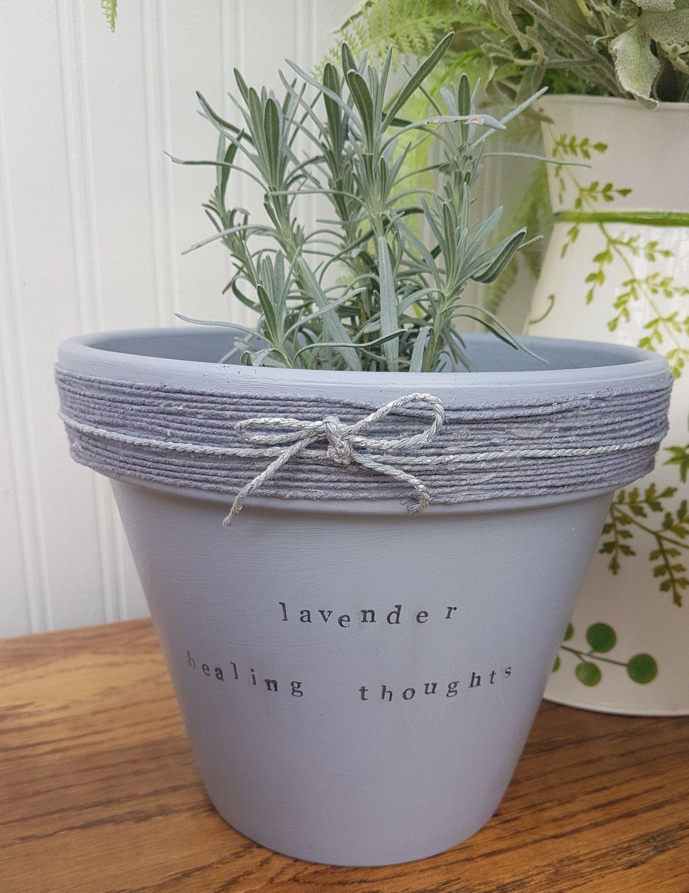 Pot Of Lavender Painted Garden Pot Plant Puns Garden Herb Garden Pots Paint Garden Pots Plant Puns