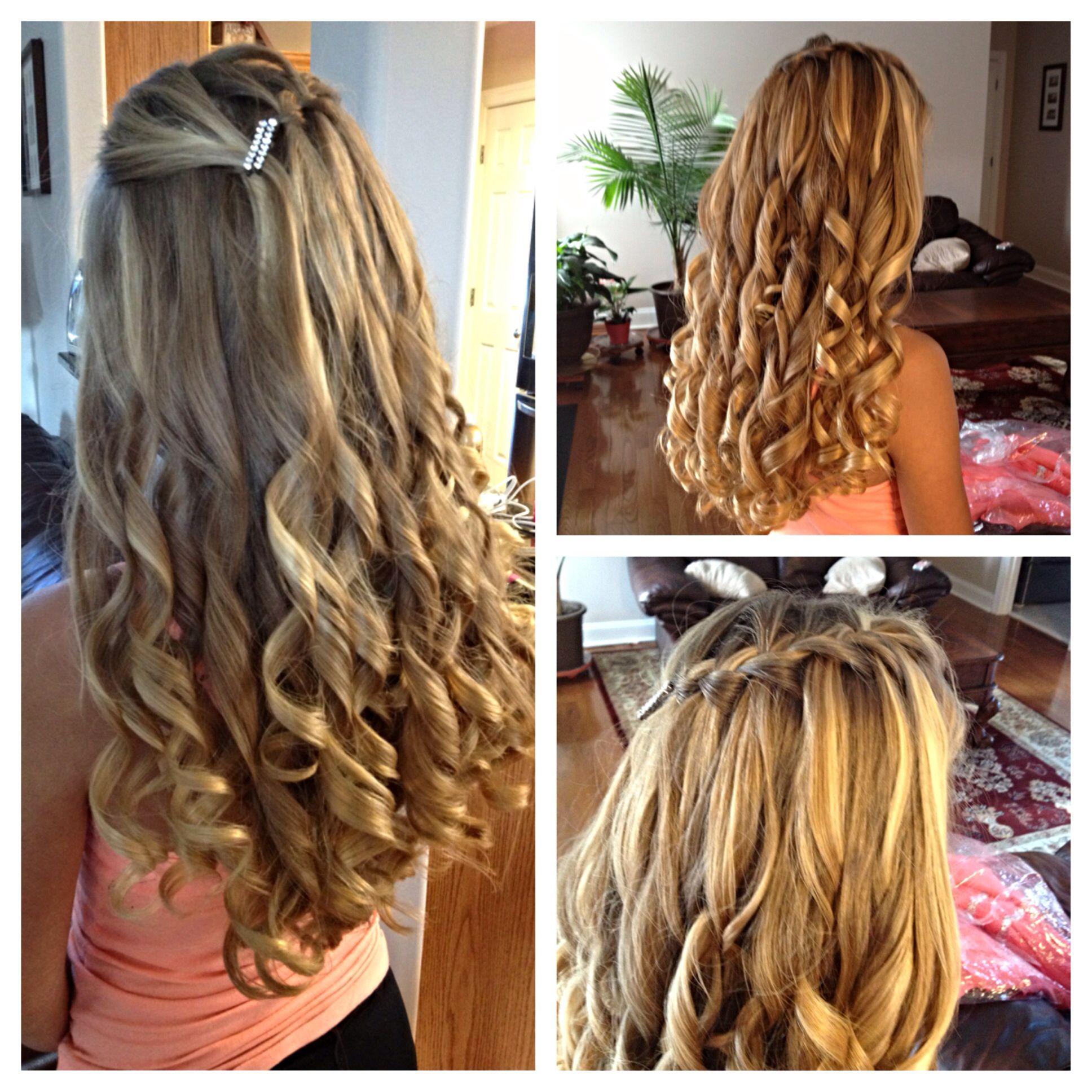 Hair For 8th Grade Dance Waterfall Braid Kaylawaltershair Cute Hairstyles Hair Styles Graduation Hairstyles