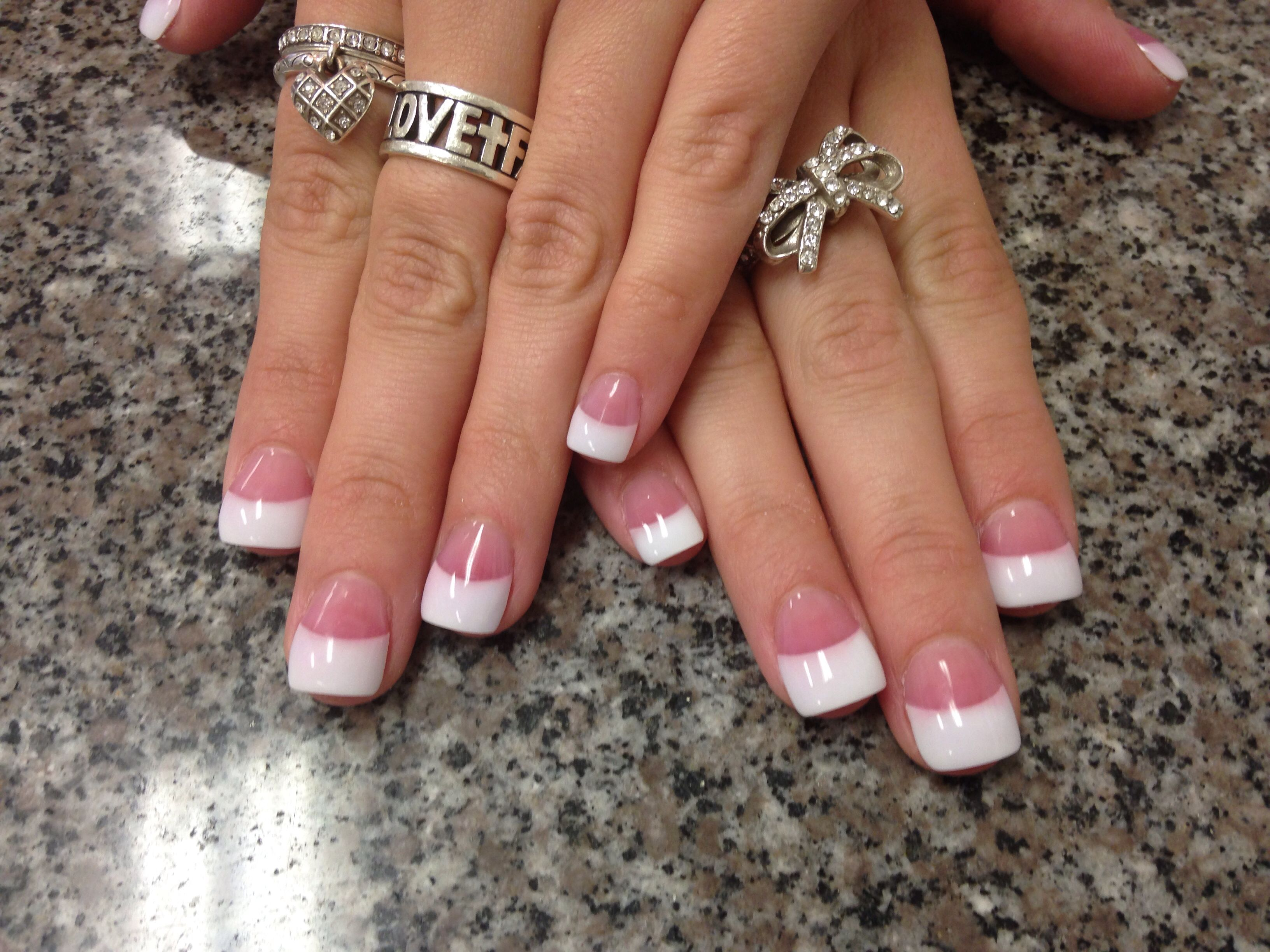 Neutral pink base white french tip square cut gel nails   Fashion ...