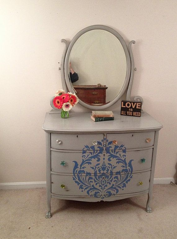 Paris Grey Antique Dresser With Mirror  Painted Furniture, Rustic Dresser,  Shabby Chic,