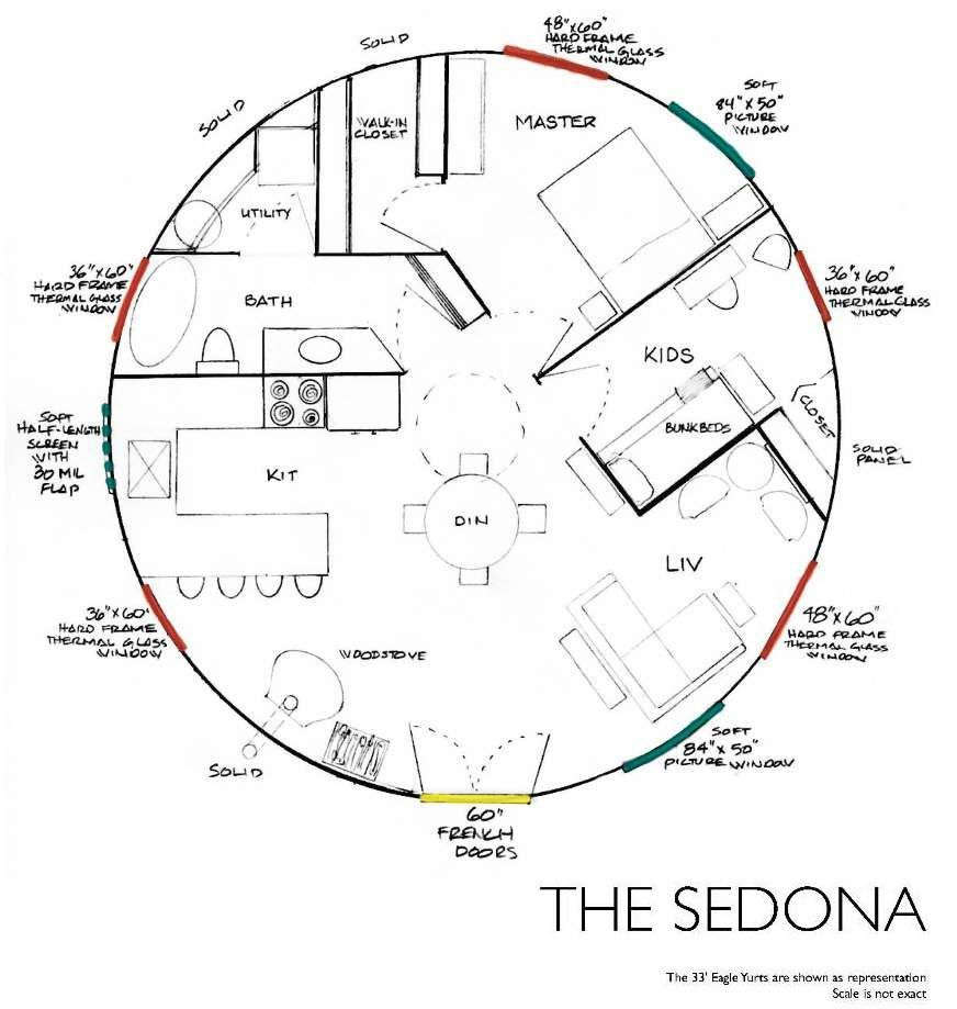 Yurt floor plan sedona hippie dream home pinterest for Bob house plans