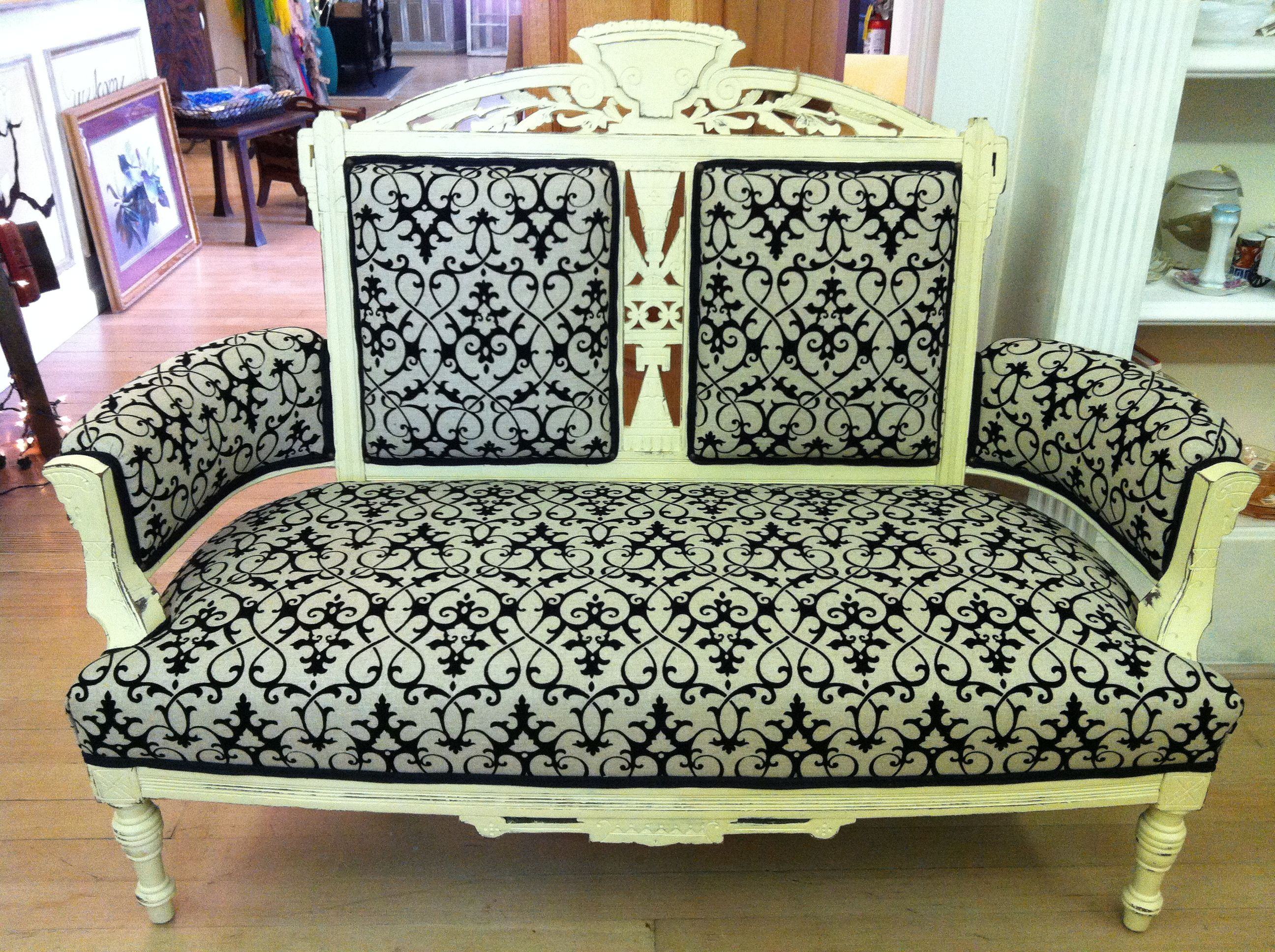 Vintage Sofa Lounge Winston Salem Vintage Settee Painted And Distressed Then Recovered With Material