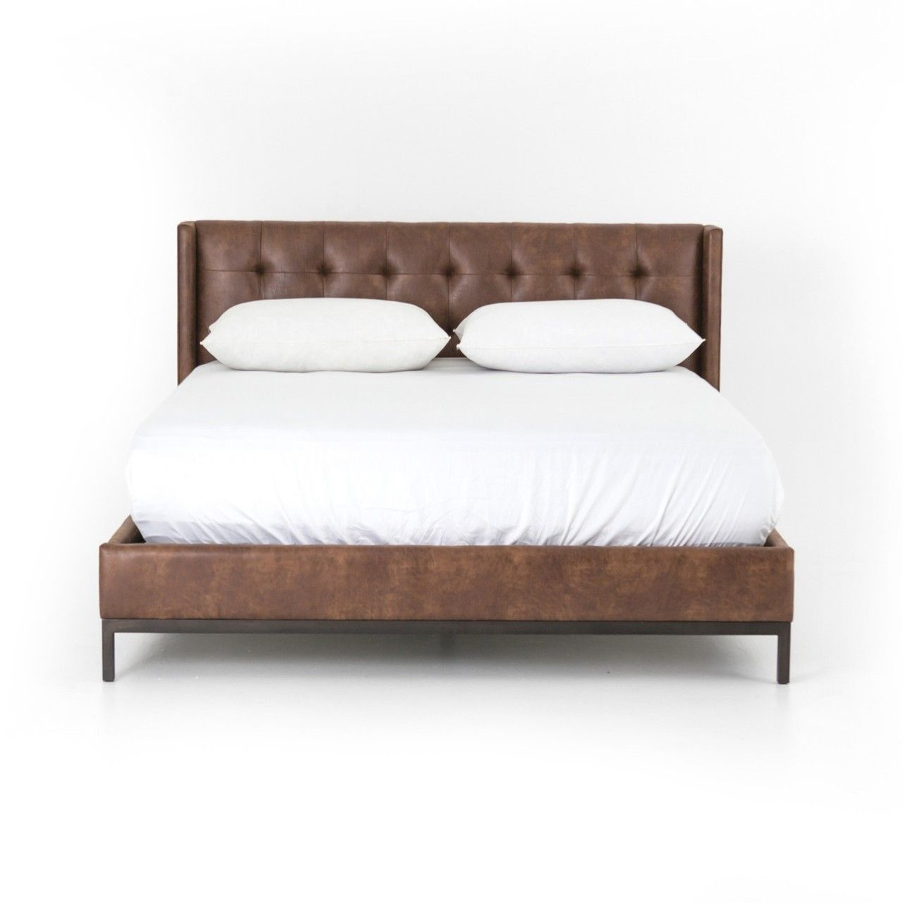 Newhall Box Tufted Shelter Leather Platform Bed King In 2020 Leather Bed Frame Brown Leather Bed Leather Platform Bed
