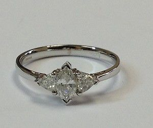 0.60Carat Marquise and Trilliant Diamond Trilogy Ring,18k White Gold