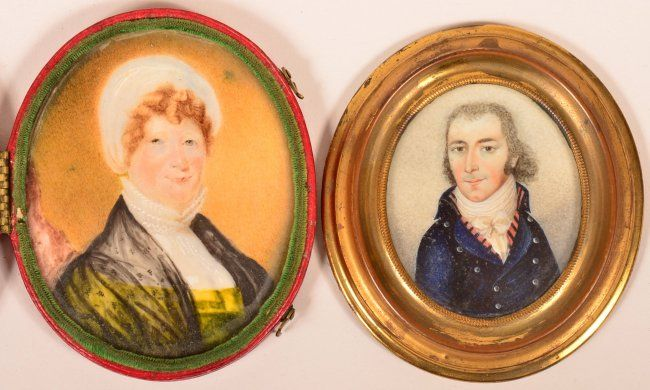 Two Early 19th Century Miniature Oval Portait Paintings : Lot 513