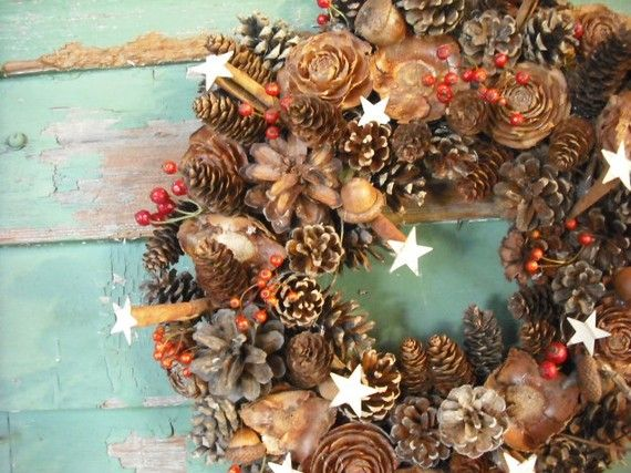 Pinecone and rosehip wreath with tiny birch by NHWoodscreations, $35.00