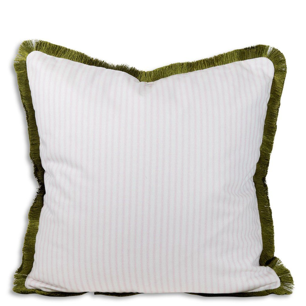 Ophelia Striped Fringe Pillow Pink Green Fringe Pillows Pink And Green Pillows
