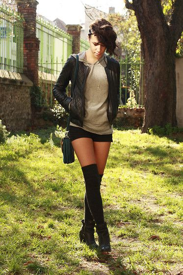 d001a543a34 Hoodie Pullover + Leather Jacket + Black Shorts + Sheer Pantyhose + Knee  High Socks Cute Everyday Outfit