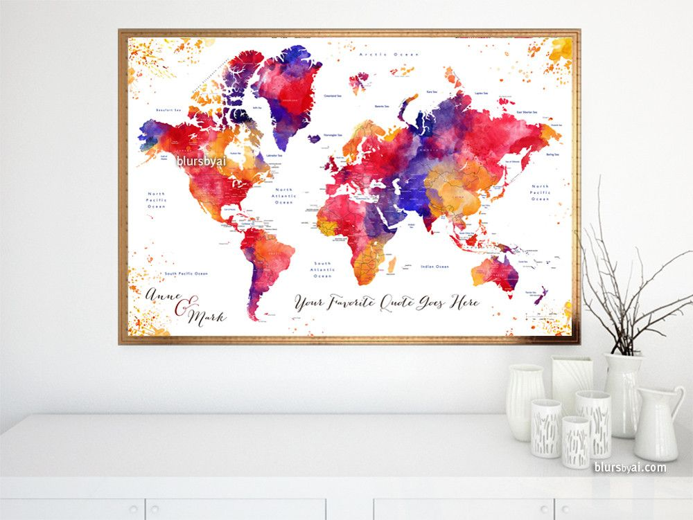 Custom quote colorful watercolor printable world map with custom quote colorful watercolor printable world map with countries and states labelled noor gumiabroncs Images