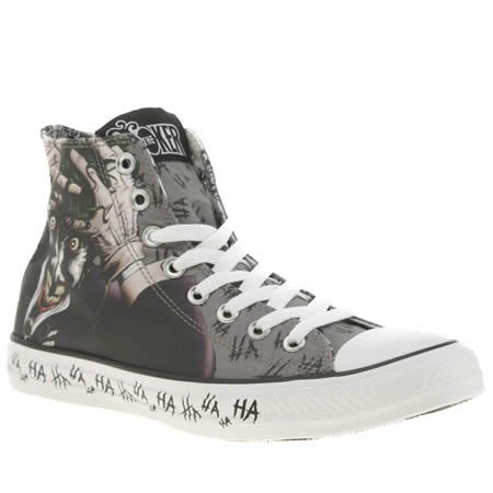 cc1bde1731a6 Batman s arch nemesis has followed him all the way from Gotham to the DC  Comics Converse collection at schuh - the All Star Joker Hi features a grey  and ...