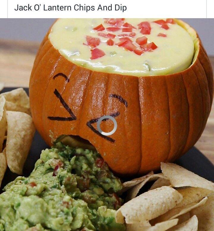 jack o lantern chips dip guacamole