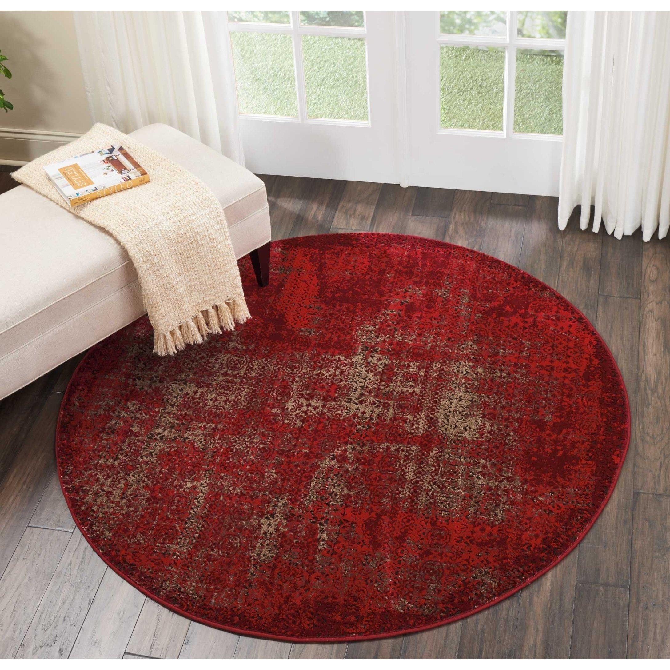 Nourison Karma Vintage Distressed Red Round Rug 5 3 Round 5 3