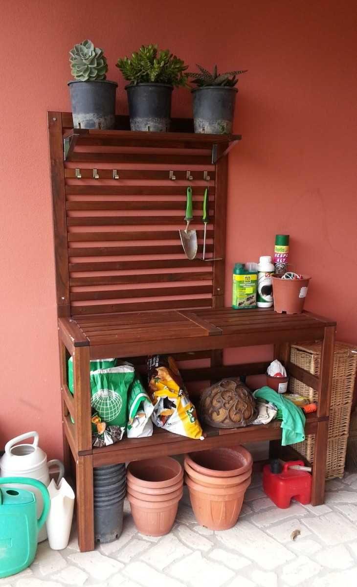 double pplar bench for potting bench ikea hackers ikea haks. Black Bedroom Furniture Sets. Home Design Ideas
