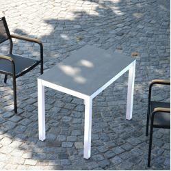 Gartentische Quadrat Hpl Tisch Gestell Weiss Zementoptik50x80 Jan