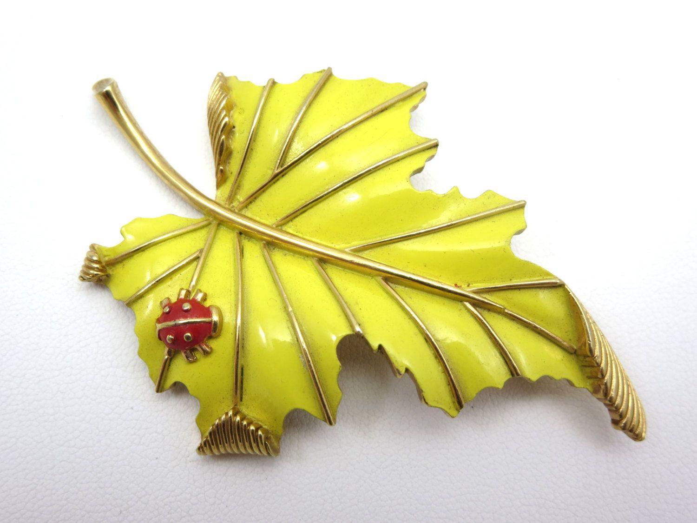 BigSALE Trifari Leaf and Ladybug Brooch Yellow by VintageInBloom