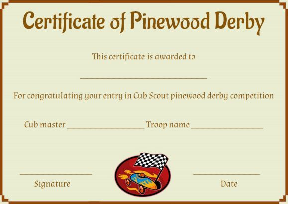Pinewood Derby Award Certificate Template