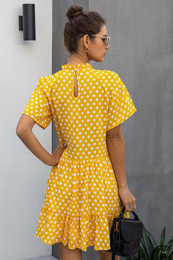 Yellow Poka Dot Short Prom Dresses