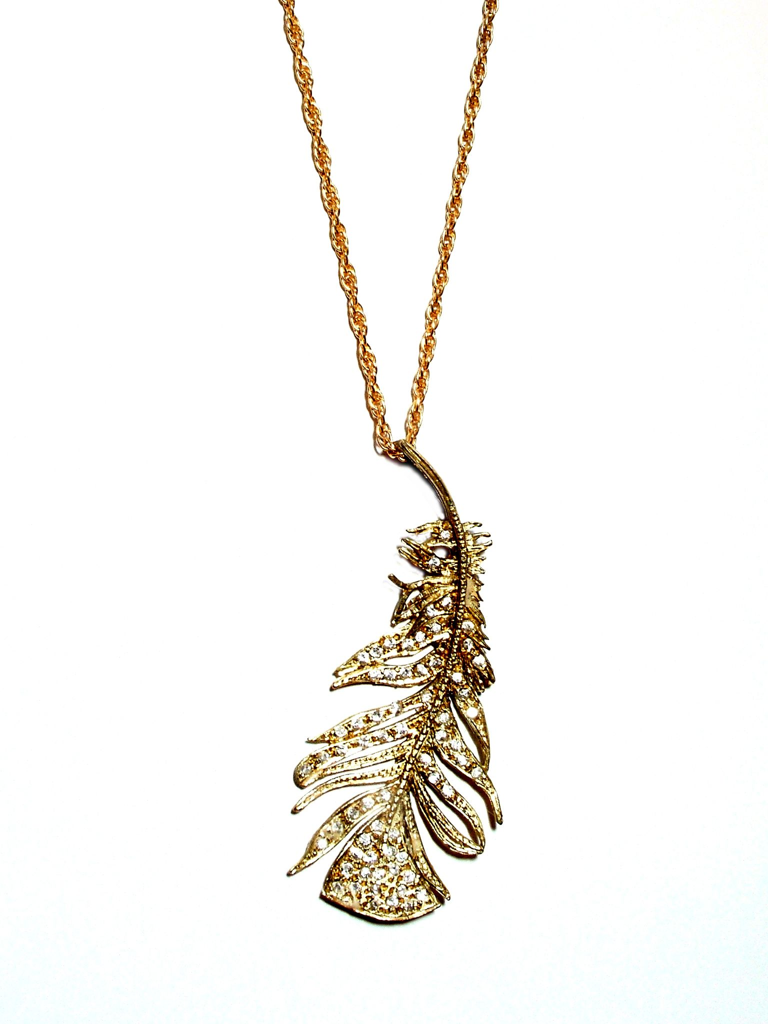 Kate gibbs pave feather pendant in k gold katherine gibbs parr