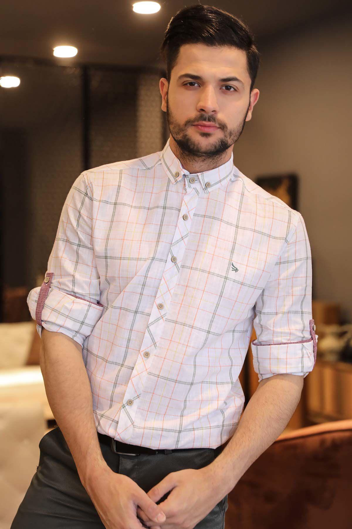 قميص مخطط بأكمام مطوية رجالي In 2020 Roll Up Sleeves Striped Shirt Color Khaki