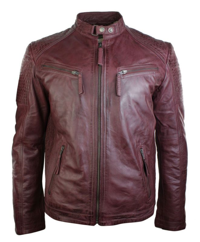 Mens Retro Style Zipped Biker Brown Real Leather Jacket