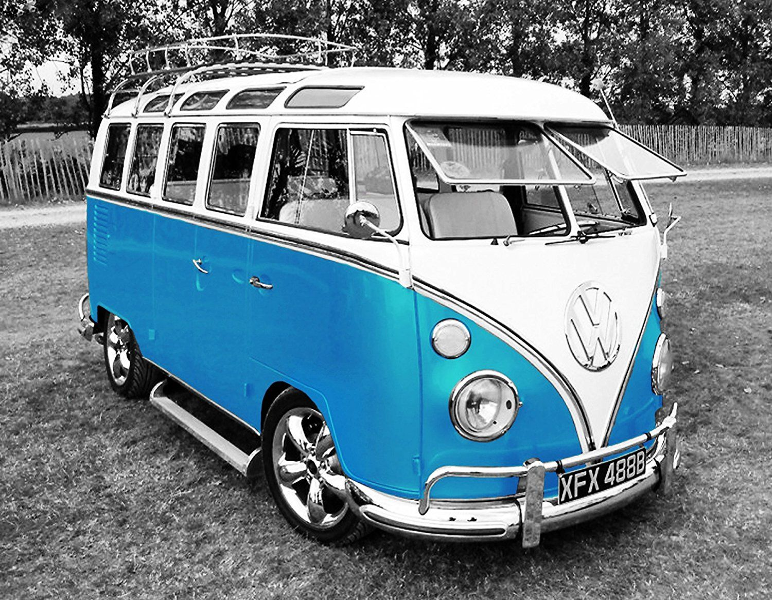 Vw Volkswagon Camper Van Canvas Picture 20 X30 Framed And Ready