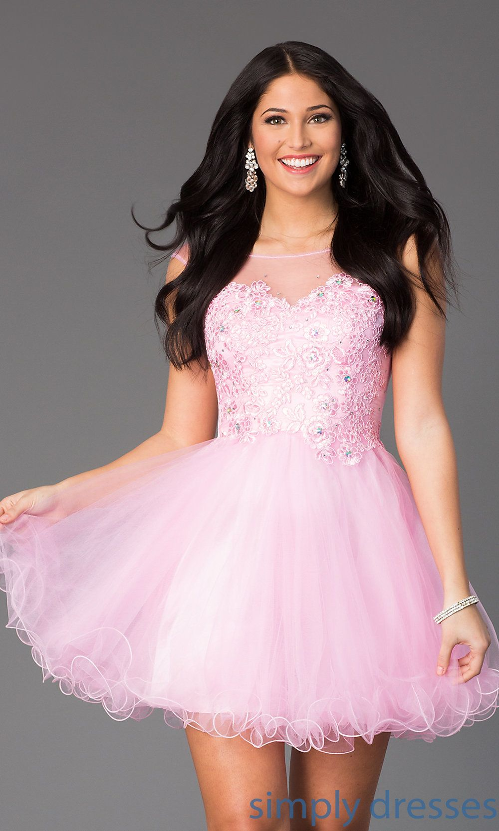Dq sleeveless short prom dress with embellished lace short