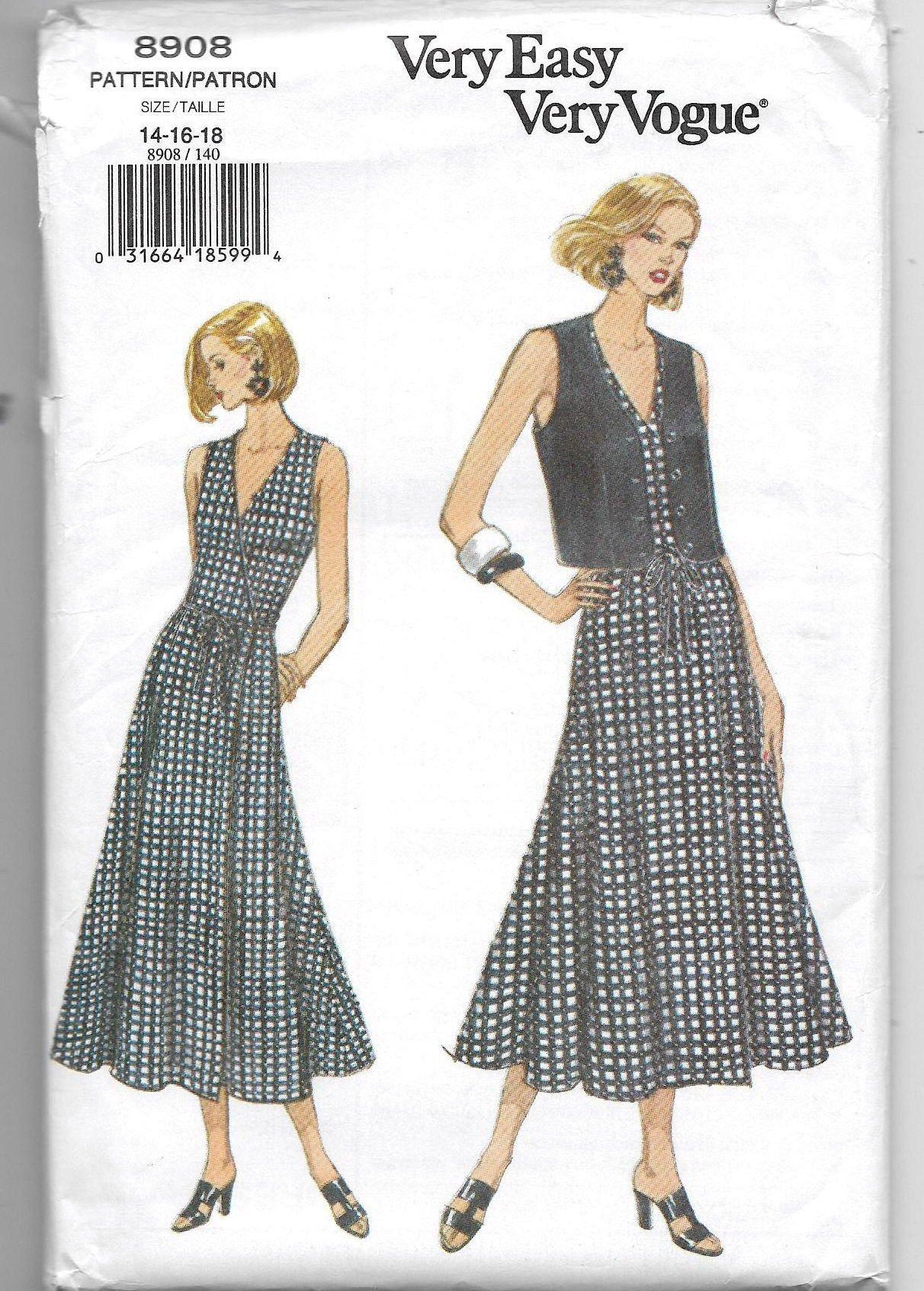 Uncut Misses Size 14 16 18 Sewing Pattern Vogue 8908 Wrap Etsy Fit And Flare Vogue Sewing Patterns Wrap Dress [ 1692 x 1212 Pixel ]