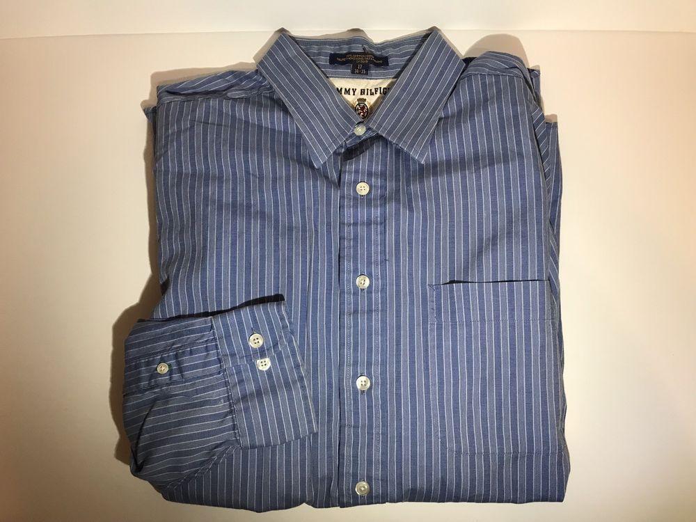 aa891859 Vintage Tommy Hilfiger Shirt Button Down Blue Stripes Mens Size 17. Long  Sleeve | eBay