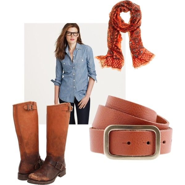 Chambray Shirt + Leather Accessories + Bright Scarf = Casual Weekend