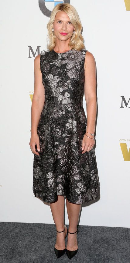 Look of the Day | InStyle.com Claire Danes flirted with moody florals for the Women in Film Crystal + Lucy Awards, selecting a gunmetal floral Dolce & Gabbana brocade dress with ankle-strap pumps for the occasion.