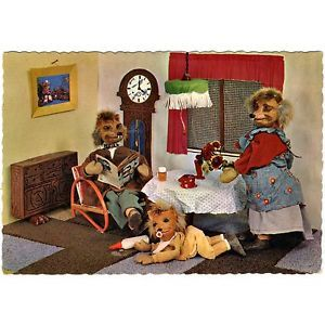 AK-Postkarte-Mecki-Igel-Schweiz-Meckis-mit-Baby-im-Wohnzimmer-1962-RAR