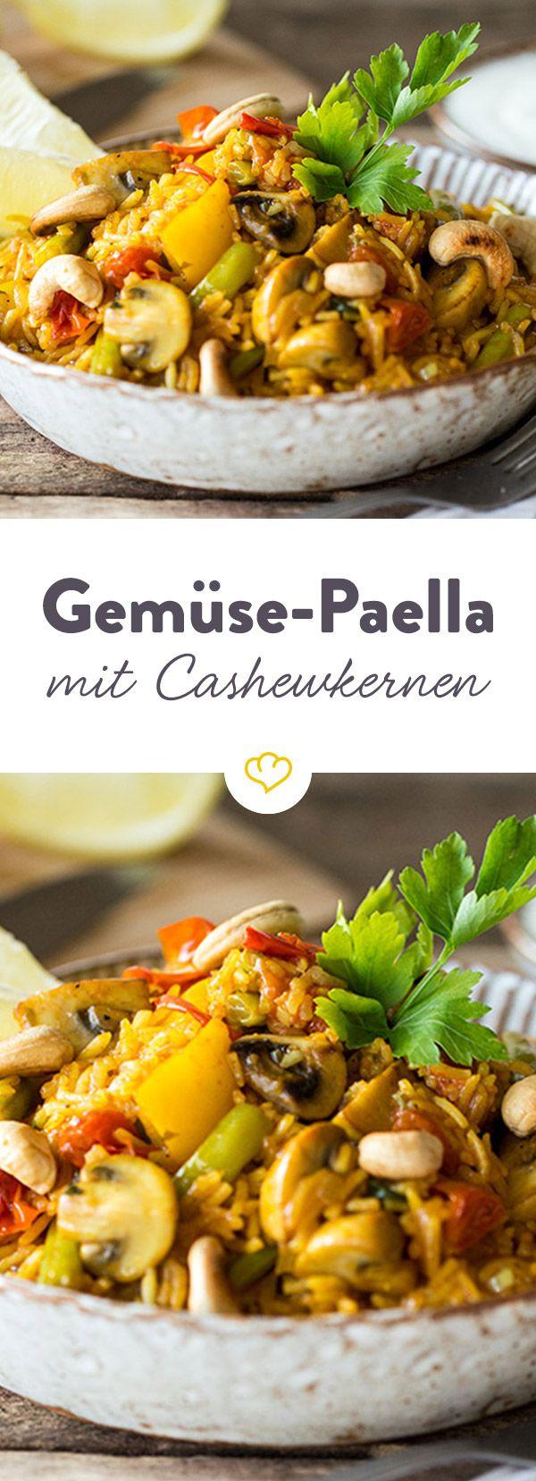 Bunte Gemüse-Paella mit gerösteten Cashewkernen #vegetarischerezepteschnell