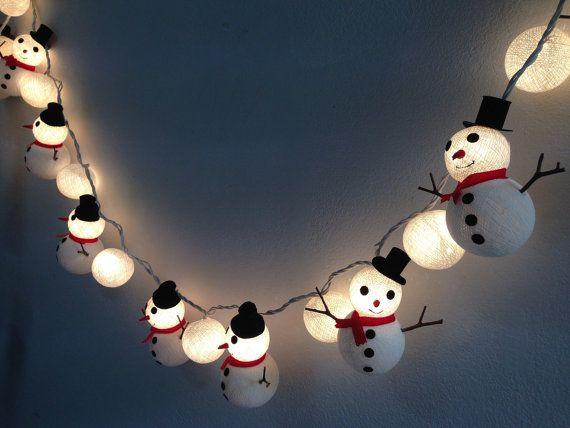 Christmas set Snowman  Snowball cotton ball string lights for