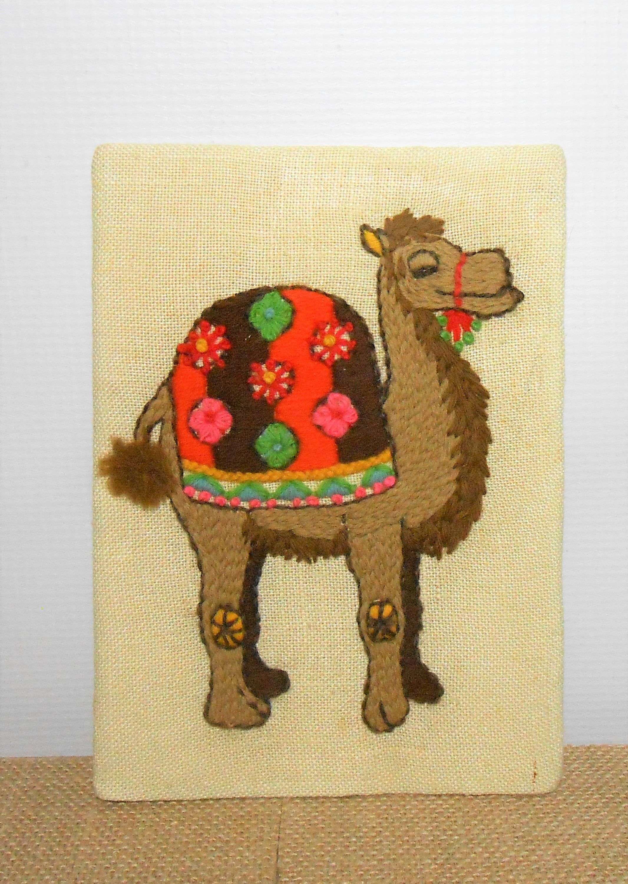Vintage Wall Hanging, Camel, Embroidered, Cross Stitch, Zoo Decor ...