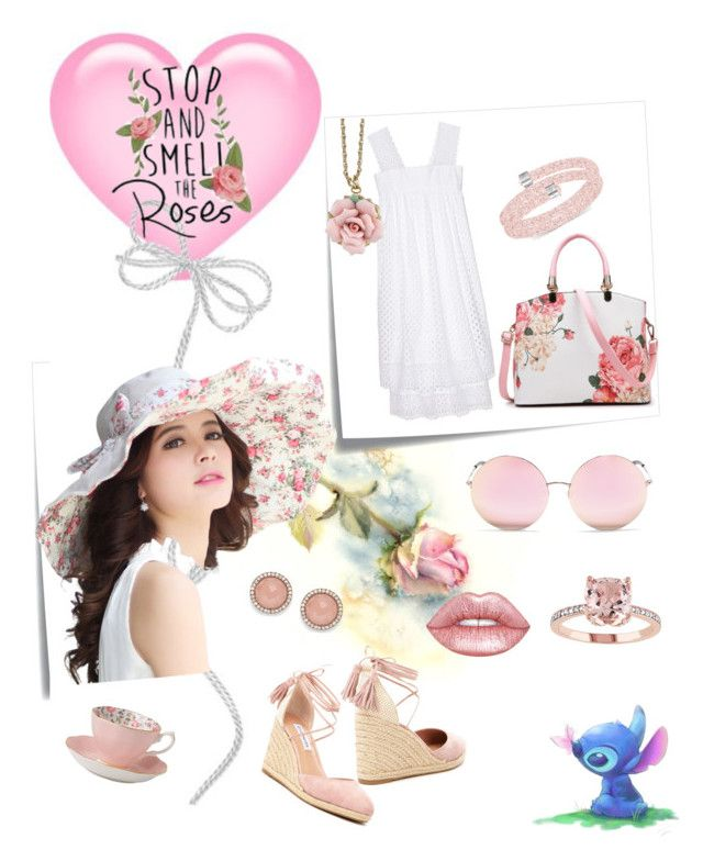 """""""Smell the Roses"""" by dreamcatcher51 ❤ liked on Polyvore featuring Post-It, Tory Burch, Steve Madden, Swarovski, Matthew Williamson, Lime Crime, 1928, FOSSIL and Royal Albert"""