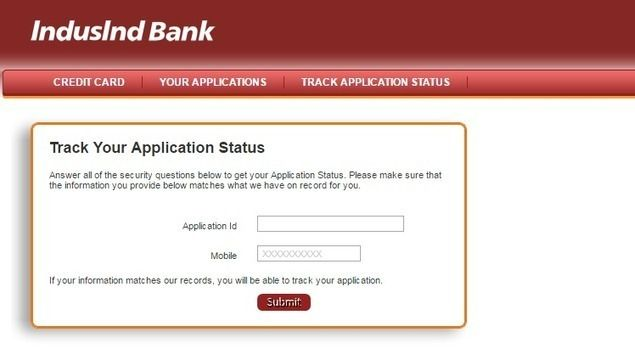 IndusInd Bank Credit Card Status Online Application Status - credit application