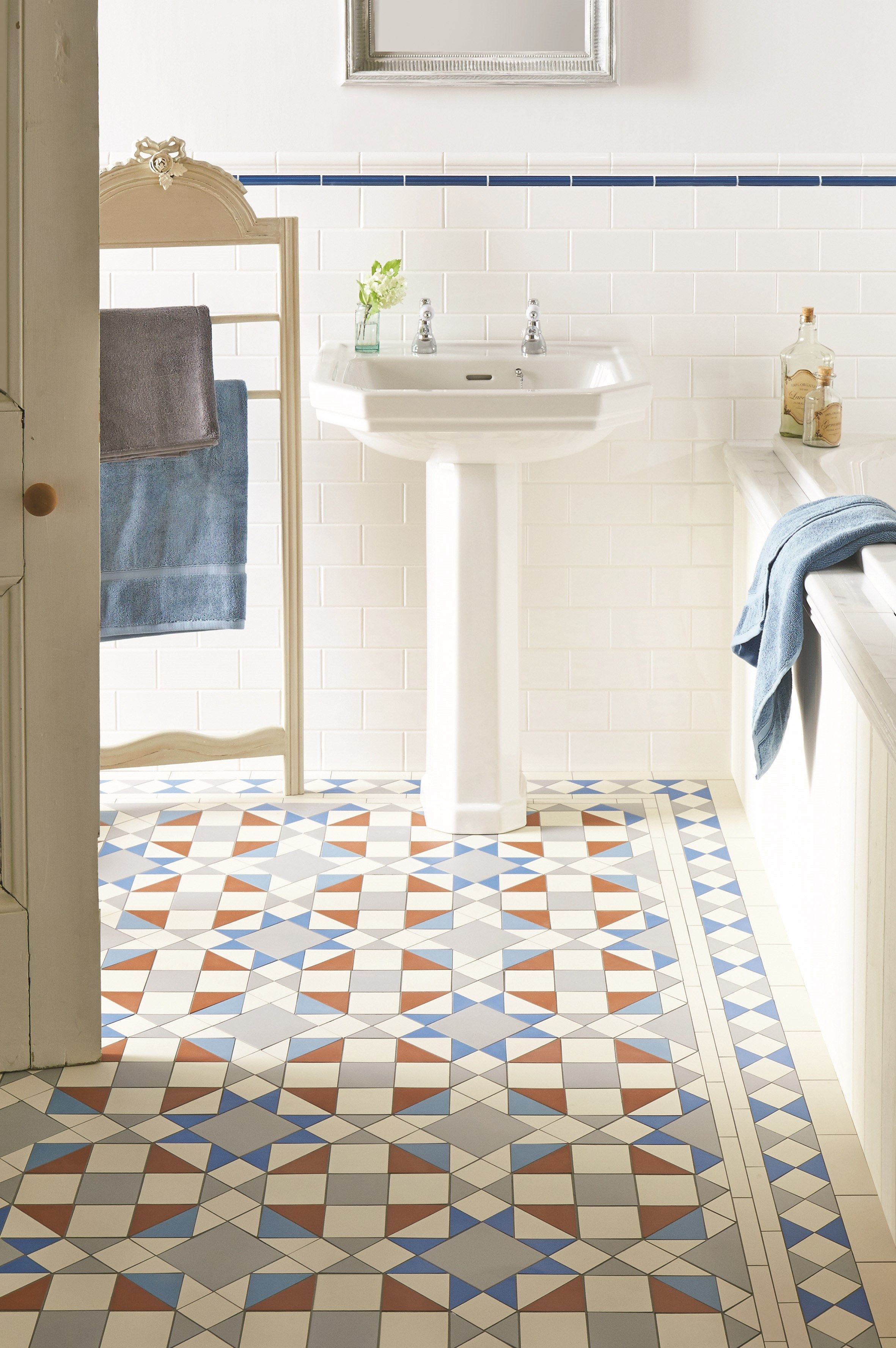 White And Greys To Replace Blue And Red Eltham Pattern With A New Shade Bright Pugin Blue Makes A Trendy Bathroom Tiles Victorian Bathroom Tile Bathroom
