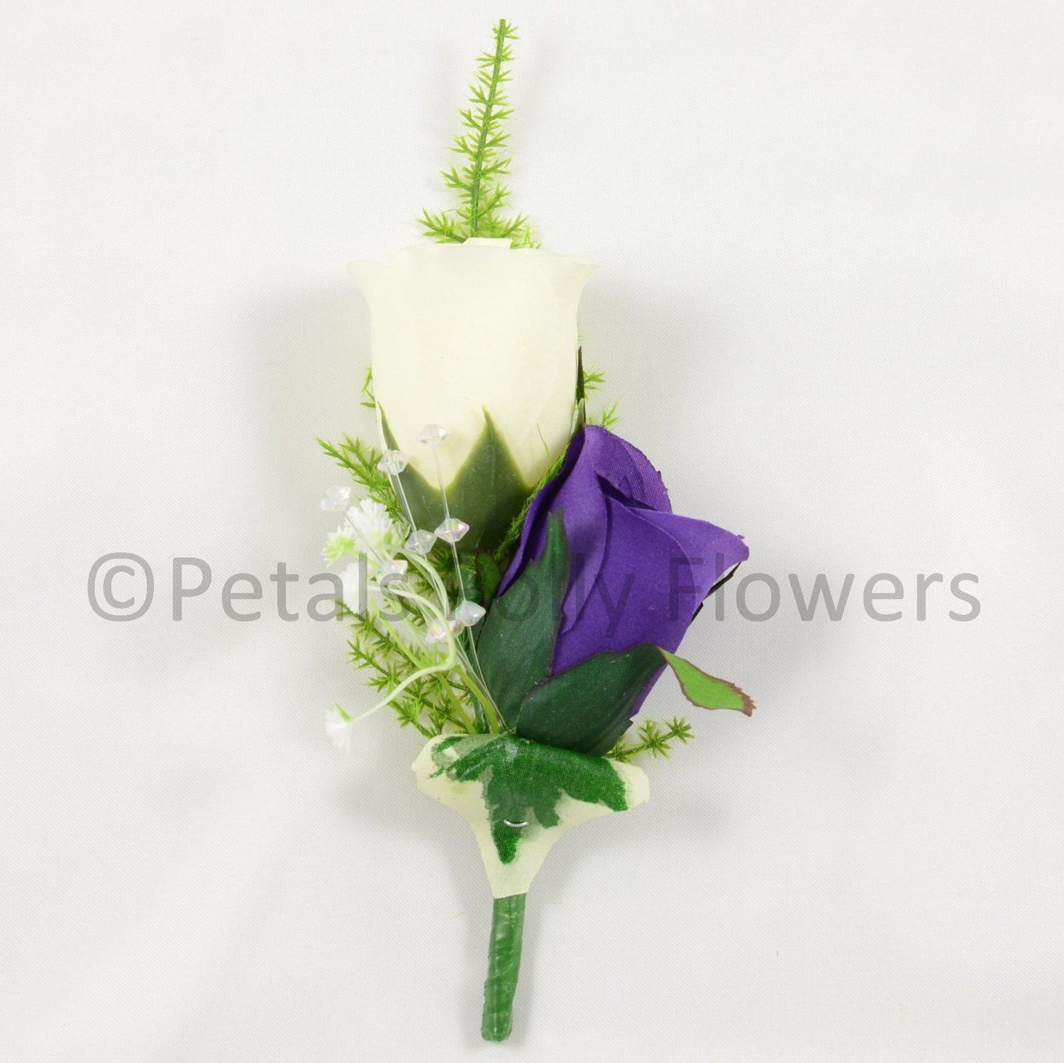 Artificial Wedding Flowers Hand Made By Petals Polly SILK DOUBLE ROSE BUTTONHOLE IN PURPLE