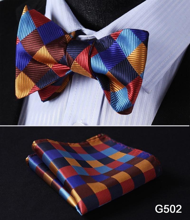 Check polka dot silk jacquard woven men butterfly self bow