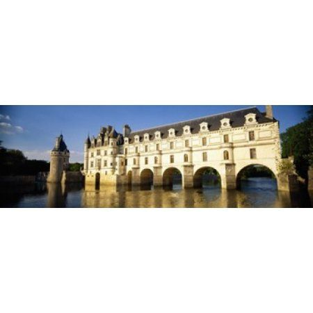 Reflection of a castle in water Chateau De Chenonceaux Chenonceaux Loire Valley France Canvas Art - Panoramic Images (18 x 6)