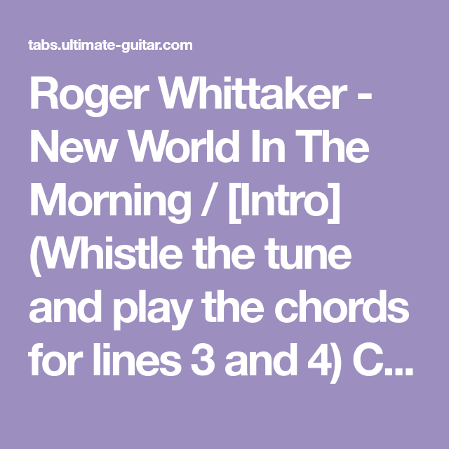 Roger Whittaker New World In The Morning Intro Whistle The