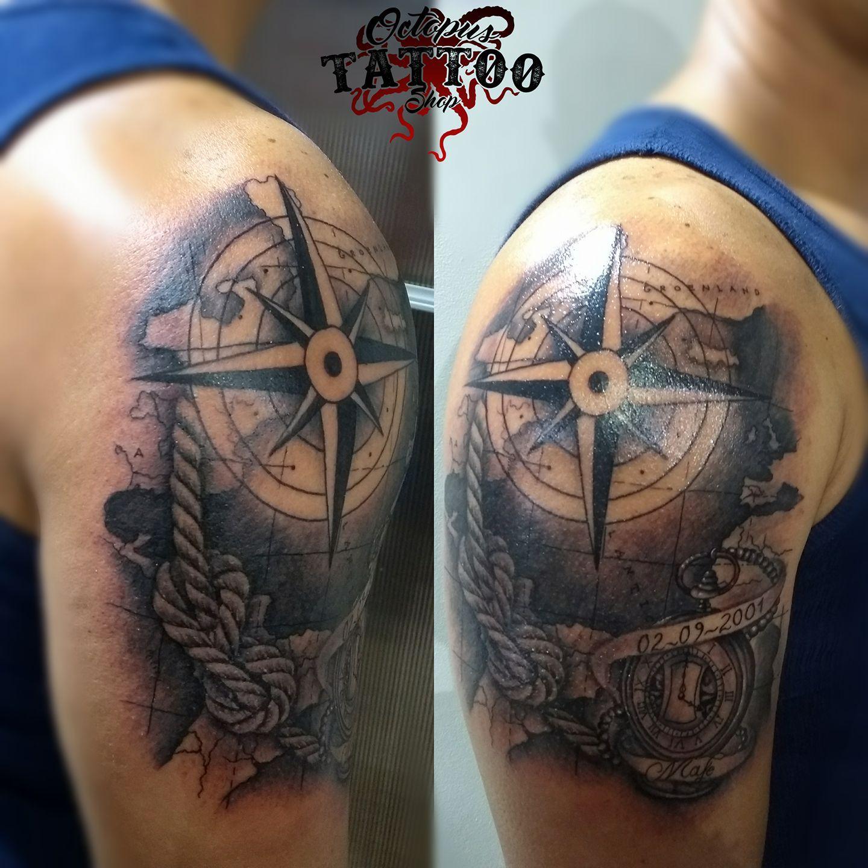 Tatuajes En El Brazo Sombras tatuaje sombras brazo hombre brújula mapa timón realizado en octopus