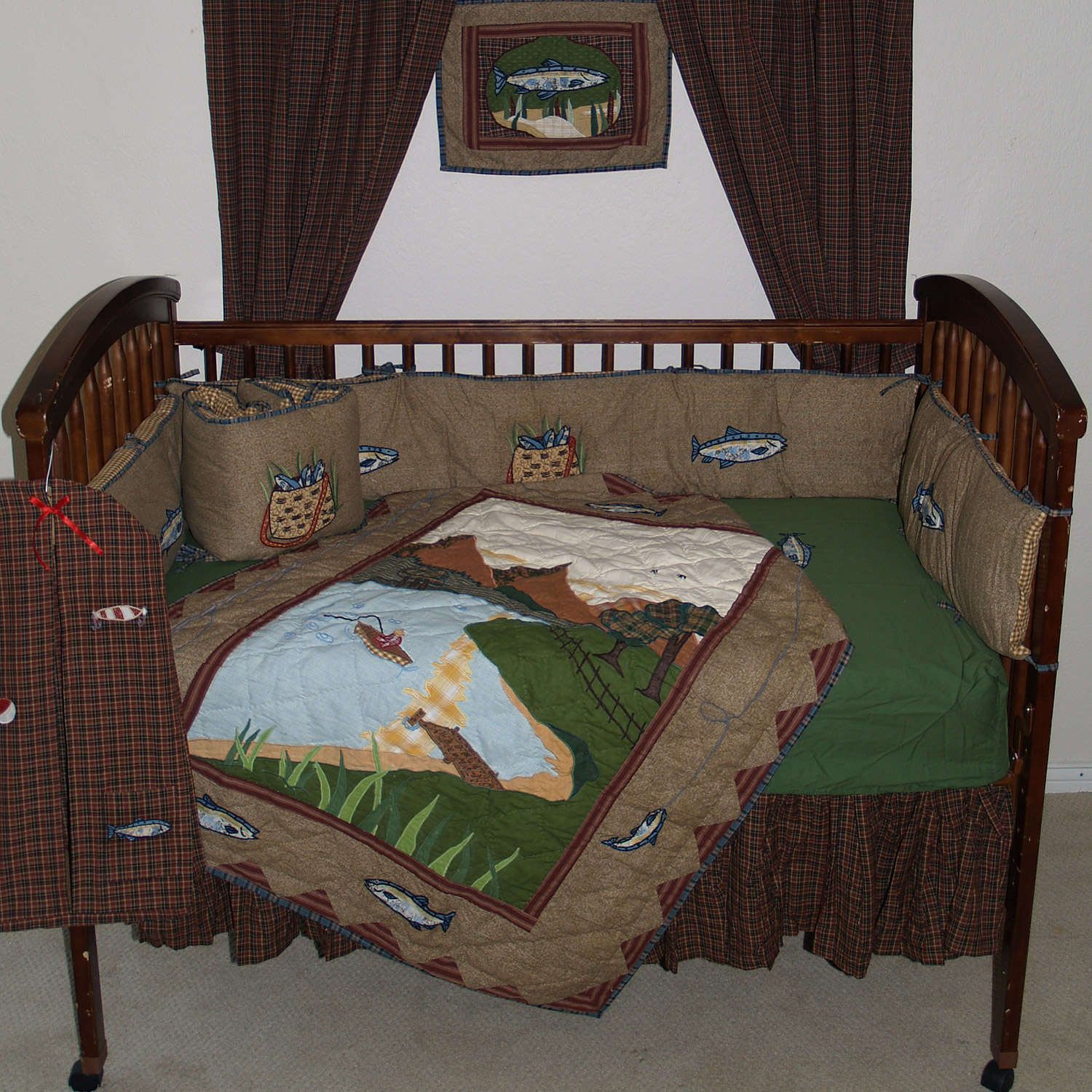 Gone fishing brown and green country fish 6 piece crib for Fish crib bedding