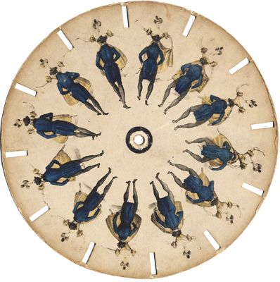 Phenakistiscope, a spinning disk that show two dancing figures (19th c).